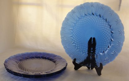4 Blue Glass Plates